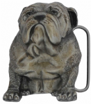 Bulldog Sitting Belt Buckle with display stand. Product code JM3